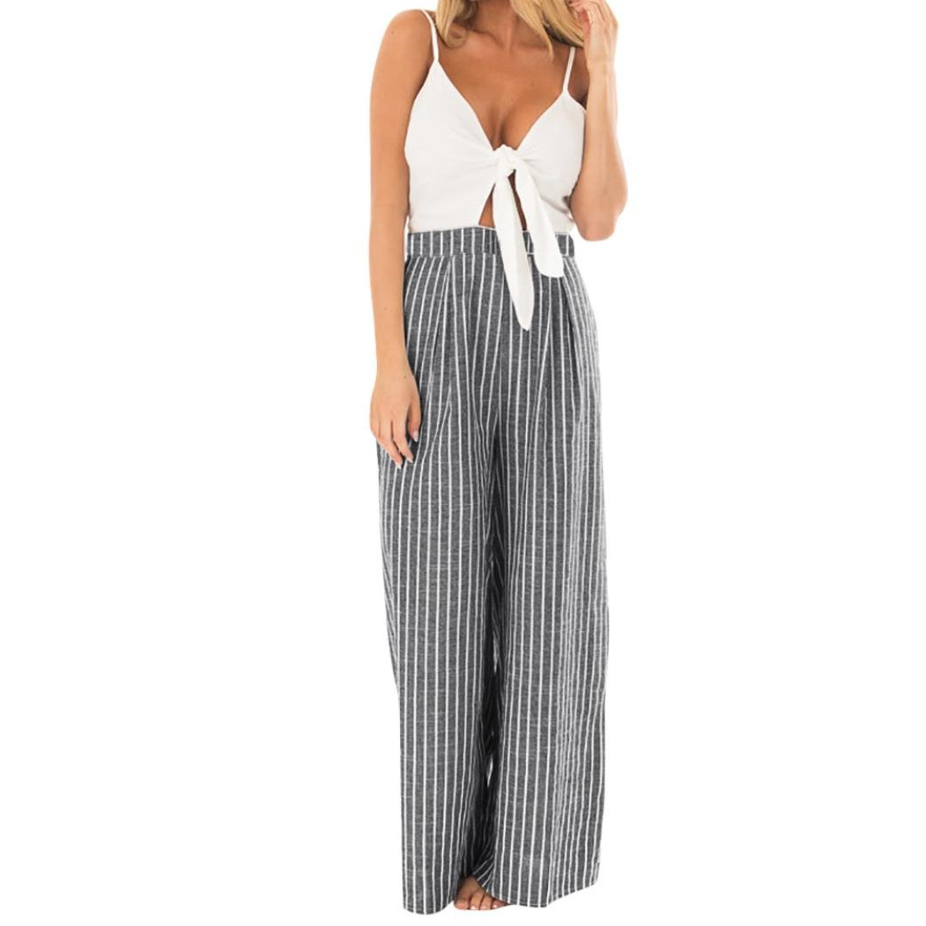 Kingfansion Women Elegant Bowknot Striped Jumpsuit Clubwear Wide Leg Long Pants
