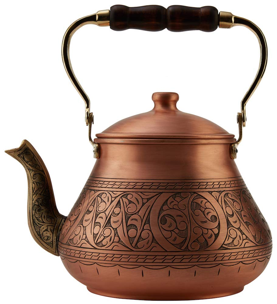 DEMMEX 2019 Heavy Gauge 1mm Thick Natural Handmade Turkish Copper Engraved Tea Pot Kettle Stovetop Teapot, LARGE 3.1 Qt - 2.75lb (Matte Engraved Copper)