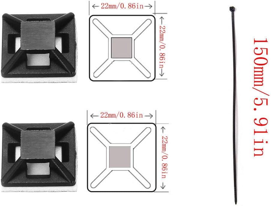 60 supports de serre-c/âbles, 100 serre-c/âbles Her Kindness Auto-Adhesive Base de Montage Attache de cable Base Serre Cable en Plastique