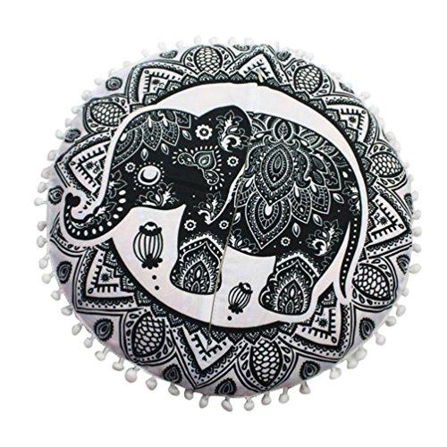 KMG Round Pillowcase, Kimloog Indian Mandala Decorative Cushion Cover Bohemian Pillow Sham (J)