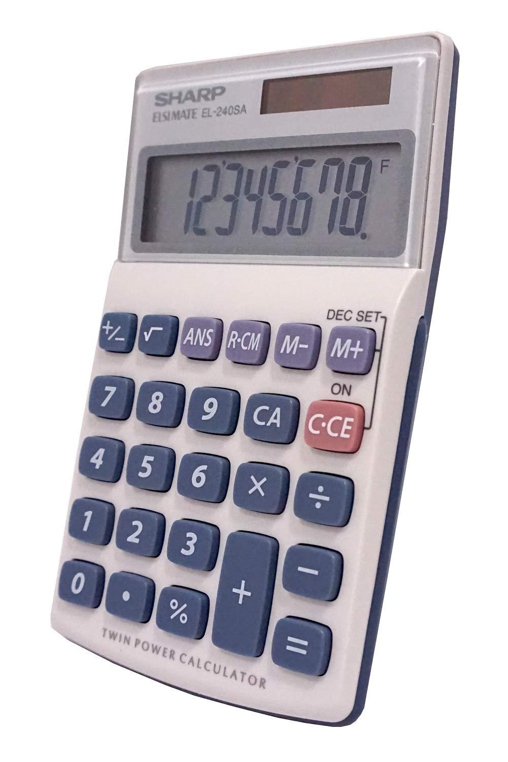 b4b04b677a Amazon.com : Sharp HO EL240SB 8 Digit Solar and Battery Powered Slant  Display Calculator : Solar Calculator Large Keys : Electronics