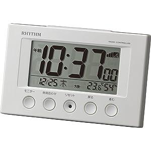 リズム時計 電波目覚まし時計 フィットウェーブスマート 8RZ166SR03