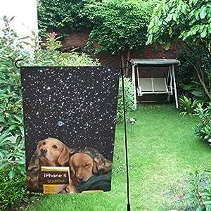 InterestPrint Happy More Custom Galaxy Dogs Decor - Bandera de jardín doble de 30,5 x 45,7 cm