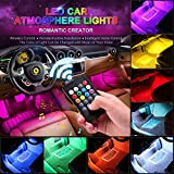 car interior led light strip - CARANTEE Car LED Strip Light - Multicolor Music Car Interior Lights, 4pcs 48 LEDs 8 Colors with Sound Active Function UnderDash Lighting kits, Wireless Remote Control(DC 12V)