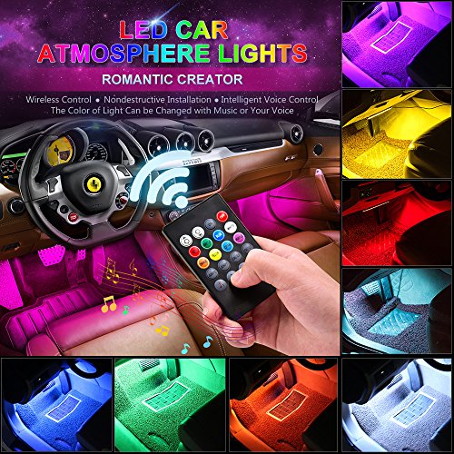 CARANTEE Car LED Strip Light USB Port 4pcs 48 LED Multicolor Music Interior Car Lights, with Sound Active Function Under Dash Lighting Kits-Car Charger Included,DC 12V