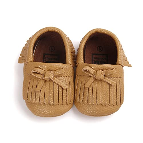 Itaar Baby Girl Crib Shoes Tassel Bowknot PU Moccasins for Infant Toddler Soft Sole Khaki