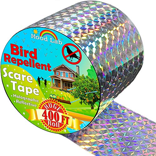 Mood Lab Bird Repellent Scare Tape - 400 ft Long - Deterrent Reflective Tape