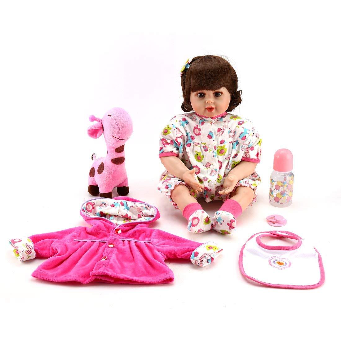 Formulaone 55cm de Silicona muñeca con Jirafa de Peluche de Juguete Precioso imitación de bebé Divertido Juego de casa de Juguete niños Regalo de cumpleaños