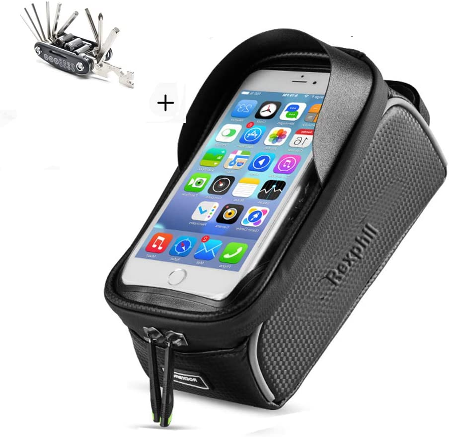 Rexphil Bike Phone Mount Front Frame Handlebar Bags, TPU Waterproof Top Tube Storage Zipper Cycling Bag with Touch Screen Fits iPhone X XS Max XR Include 15 in One Multifunctional Bicycle Repair Tool