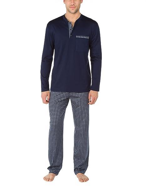 Calida Pyjama Westminster, Conjuntos de Pijama para Hombre, Azul (Dark Blue),