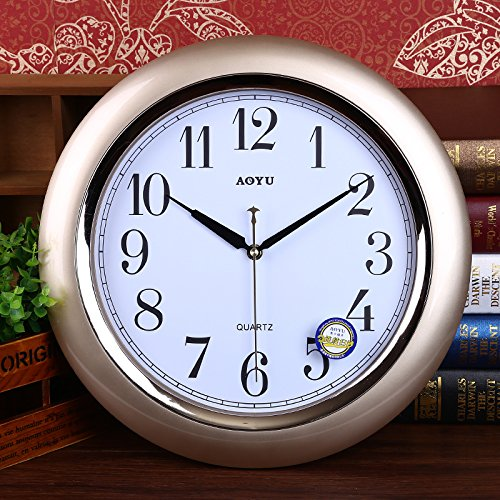 FortuneVin Wall Clock Non-ticking Number Quartz Wall Clock Living Room Decorative Indoor Bedroom Kitchen Mute Style Creative Wall Performance Quartz16 India40.5Cm Gold