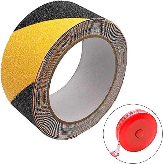 Hazard Tape Black and Yellow 5M length*5CM width*0.75mm thickness for Indoor /& Outdoor Strong Grip Abrasive Adhesive Tape 1PC Measuring Tape Warning Tape Lifreer 1PC Anti Slip Tape