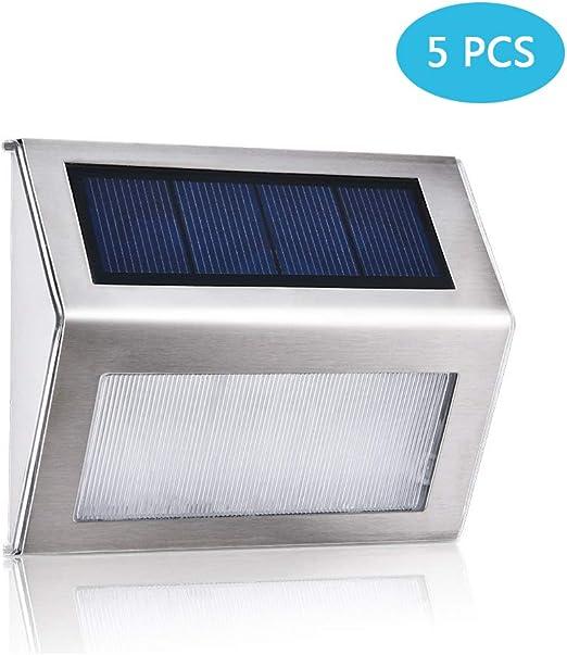 5 paquetes] luz solar para escalones, luces LED de plataforma, luces solares para caminar Iluminación de acero inoxidable inalámbrica al aire libre impermeable para escaleras Patio de pared patio: Amazon.es: Hogar