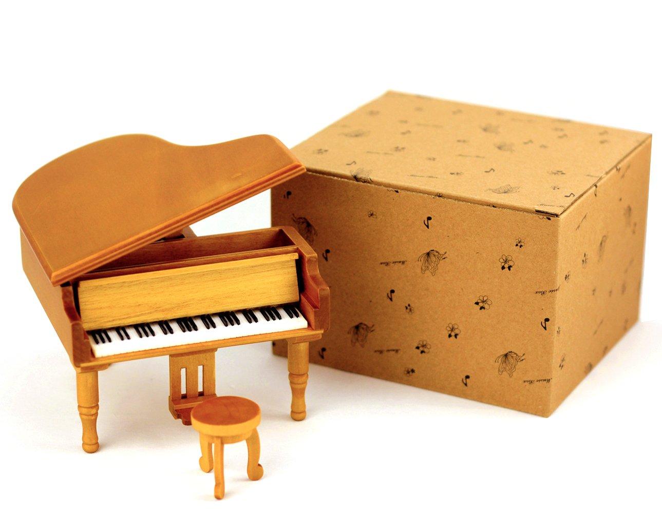 HoneyGifts Windup Wooden Piano Music Box Xmas Present for Children Kids Girls, Grand Piano