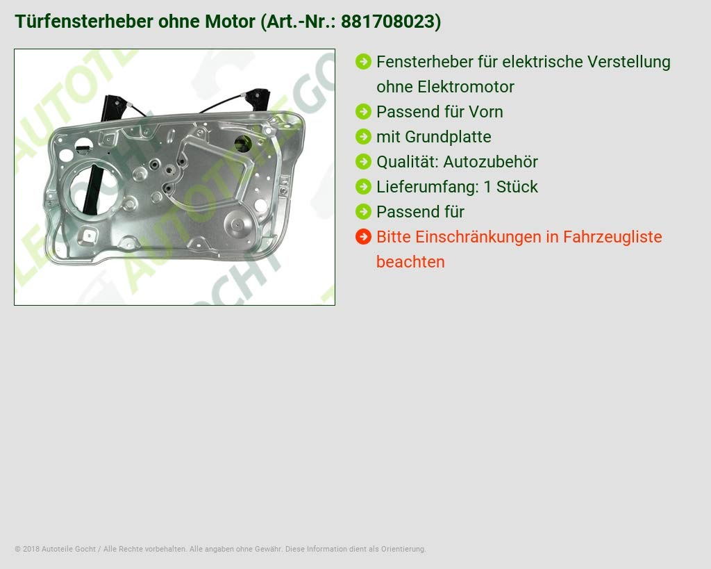 Ohne Motor Vorne Rechts B-Ware Fensterheber Ele