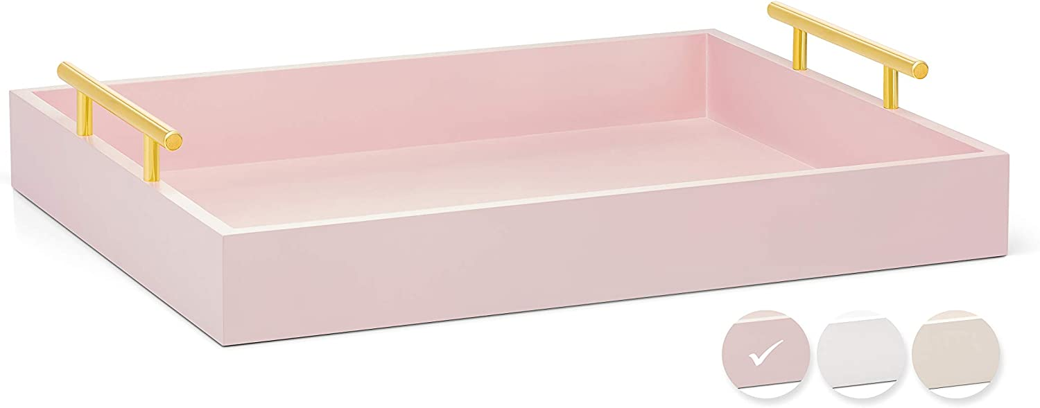 Esther Decorative Coffee Table Tray – Pink and Gold, Wood Serving Tray for Ottoman or Centerpiece, Rectangular, Polished Metal Handles, Beautiful Wooden Construction, 16.5x12.25, Soft Matte Finish