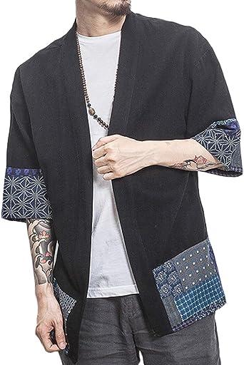 ZhuiKunA Hombres Mujer Camisa Kimono Estilo Japonés Estampado Holgado Negro 3XL: Amazon.es: Ropa y accesorios