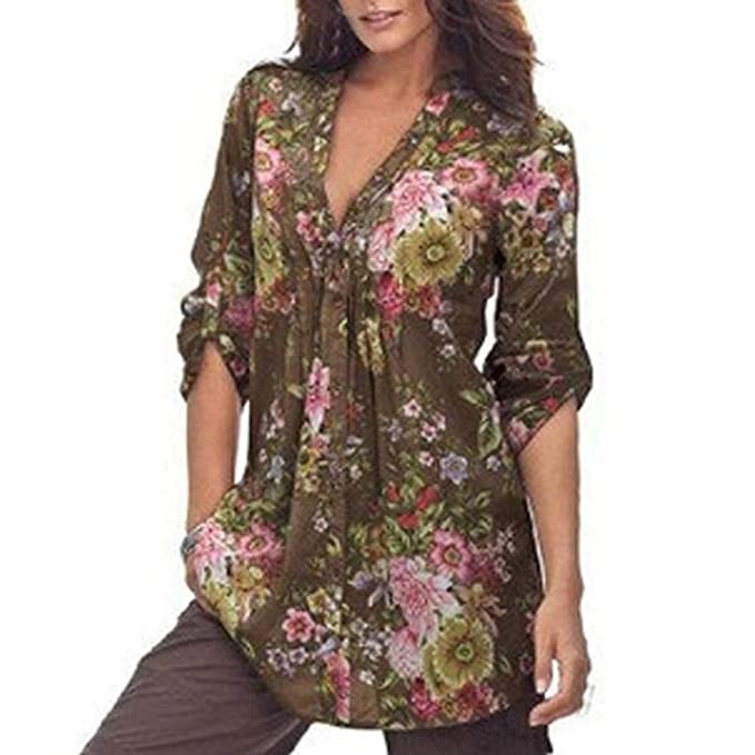 Oliviavan Blouse,Women Vintage Floral Print V-neck Tunic Tops Women's Fashion Plus Size Tops