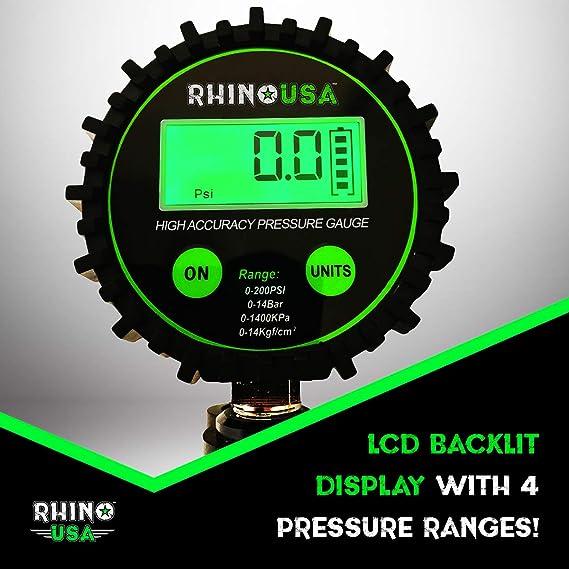 Rhino Estados Unidos Heavy Duty Medidor de presión de los neumáticos - certificado ANSI b40.1 precisa, Gran Dial de 2