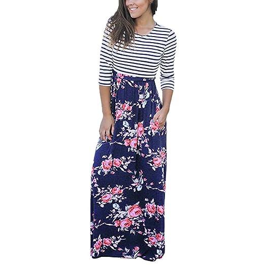 a44ab6babb3 BCDshop Women Maxi Dress Long Sleeve Casual Floral Striped Pocket Sundress  Skirt (Blue
