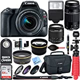 Canon EOS Rebel SL2 DSLR Camera + EF-S 18-55mm IS STM & 75-300mm III Lens Kit + Accessory Bundle 64GB SDXC Memory + SLR Photo Bag + Wide Angle Lens + 2x Telephoto Lens + Flash + Remote +Tripod & More