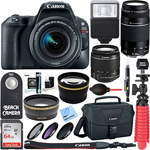 Canon EOS Rebel SL2 DSLR Camera + EF-S 18-55mm IS STM & 75-300mm III Lens Kit + Accessory Bundle 64GB SDXC Memory + SLR Photo Bag + Wide Angle Lens + 2x Telephoto Lens + Flash + Remote +Tripod & More from Canon