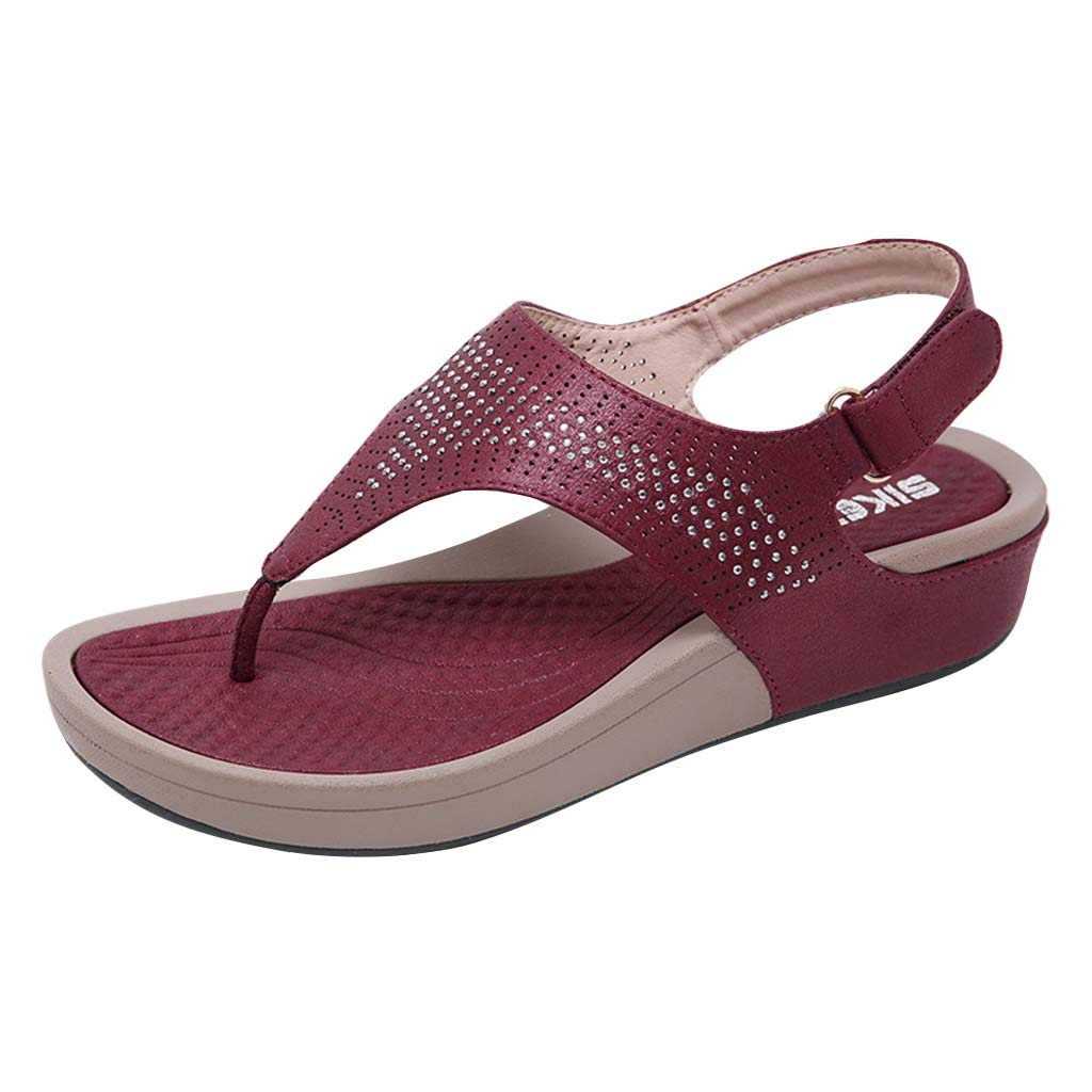 ZOMUSAR New! 2019 Crystal Slope-Heeled Sandals Comfortable Beach Shoes Women Sandals for Ladies Red by ZOMUSAR
