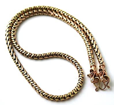 Bronze Norse Viking Gold Tone 5 mm Snake Chain Wolf Necklace for Men