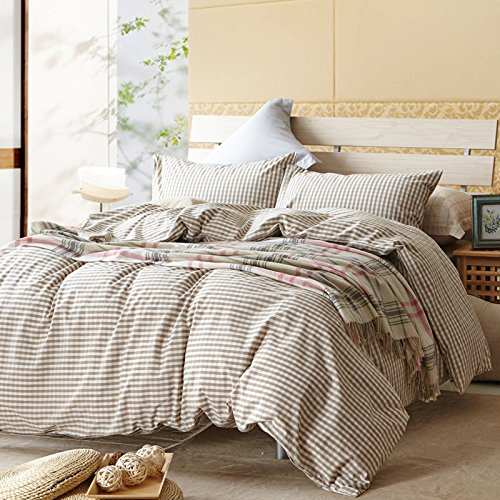 TheFit Paisley Textile Bedding for Adult U617 Brown Small Checkered and Cool Duvet Cover Set 100% Washed Cotton, Twin Queen King Set, 3-4 Pieces (King) by TheFit