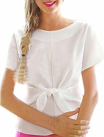 Fuxiang Blusas Mujer Gasa Camisetas Camisas Manga Corta Blusa ...