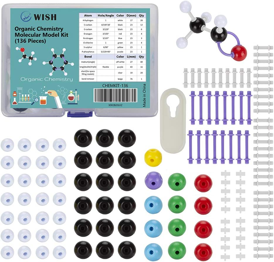 WISH Organic Chemistry Model Kit (136 Pieces), Food-Grade Plastic Chemistry Molecular Model Kit Set for Student or Teacher - Packed with Color-Coded Atoms and Bonds