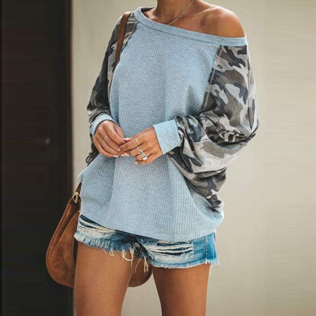 Camisa Mujer Moda Impreso Casual Manga Larga Cuello Redondo Sudaderas Suelto Blusa Camouflage Jersey Shirt Oto/ño Verano Playa y Fiesta Talla Grande Hoodie riou