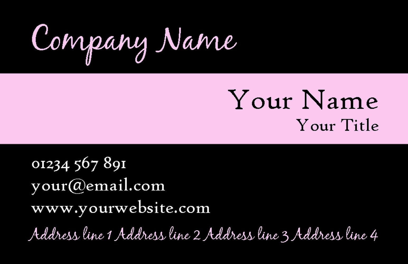 Black With Baby Pink Stripe Personalized Business Cards