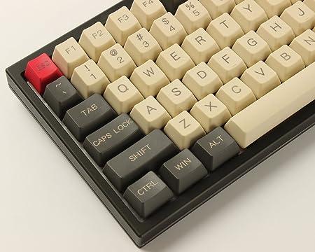 Juego de llaves YMDK 96 84 ANSI ISO perfil OEM PBT grueso para teclado mecánico Cherry MX YMD96 RS96 KBD75 YMD75 FC980M (solo teclado) Gris Beige 115 ...