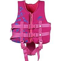Hony Kinder Schwimmweste Jacke Schwimmanzug - Jungen Mädchen Schweben Auftrieb Bademode Einstellbar Schwimmen Lernen Schwimmbad Tauchen Strand Surfen Sicherheit Rosa Blau