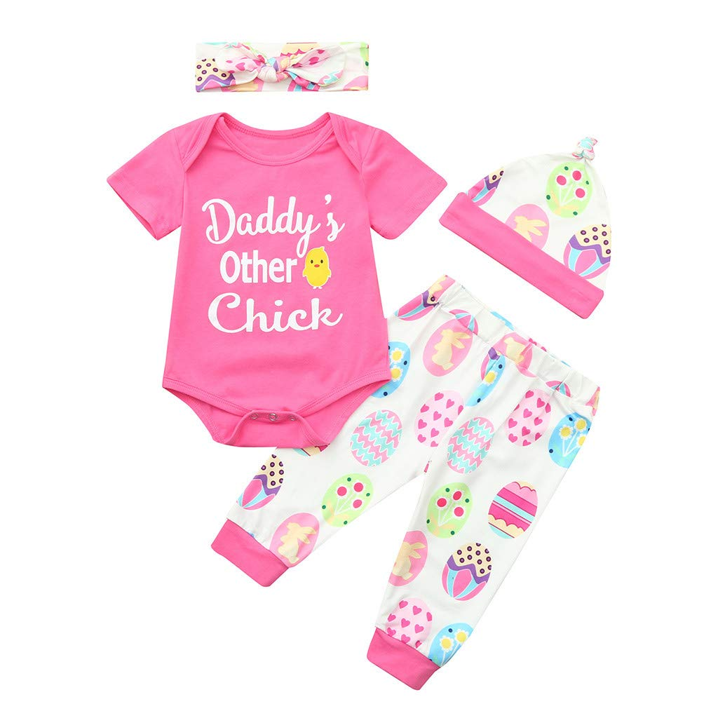 Baby Clothes Sests,Infant Baby Easter Day Cartoon Letter Print Romper+Pants+Hat+Headband Outfits