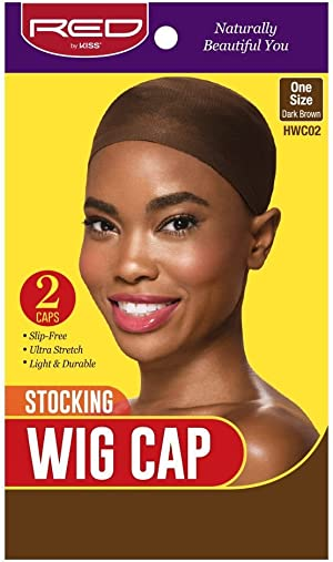 Red by Kiss Stocking Wig Cap, One Size (2 Count, Dark Brown)