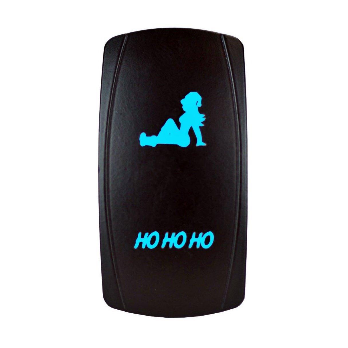 STV Motorsports Blue Rocker Switch HO HO HO 20A 12V On-Off LED Light Laser Etched Waterproof Universal