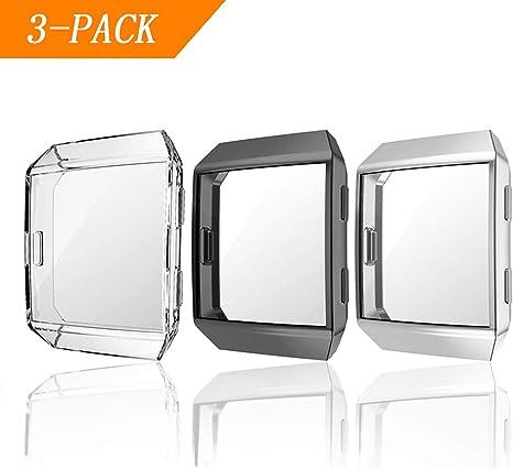 Imagen deCerike Fitbit Ionic - Funda de TPU para Fitbit Ionic Smart Watch (Aprendizaje + Negro + Plata)