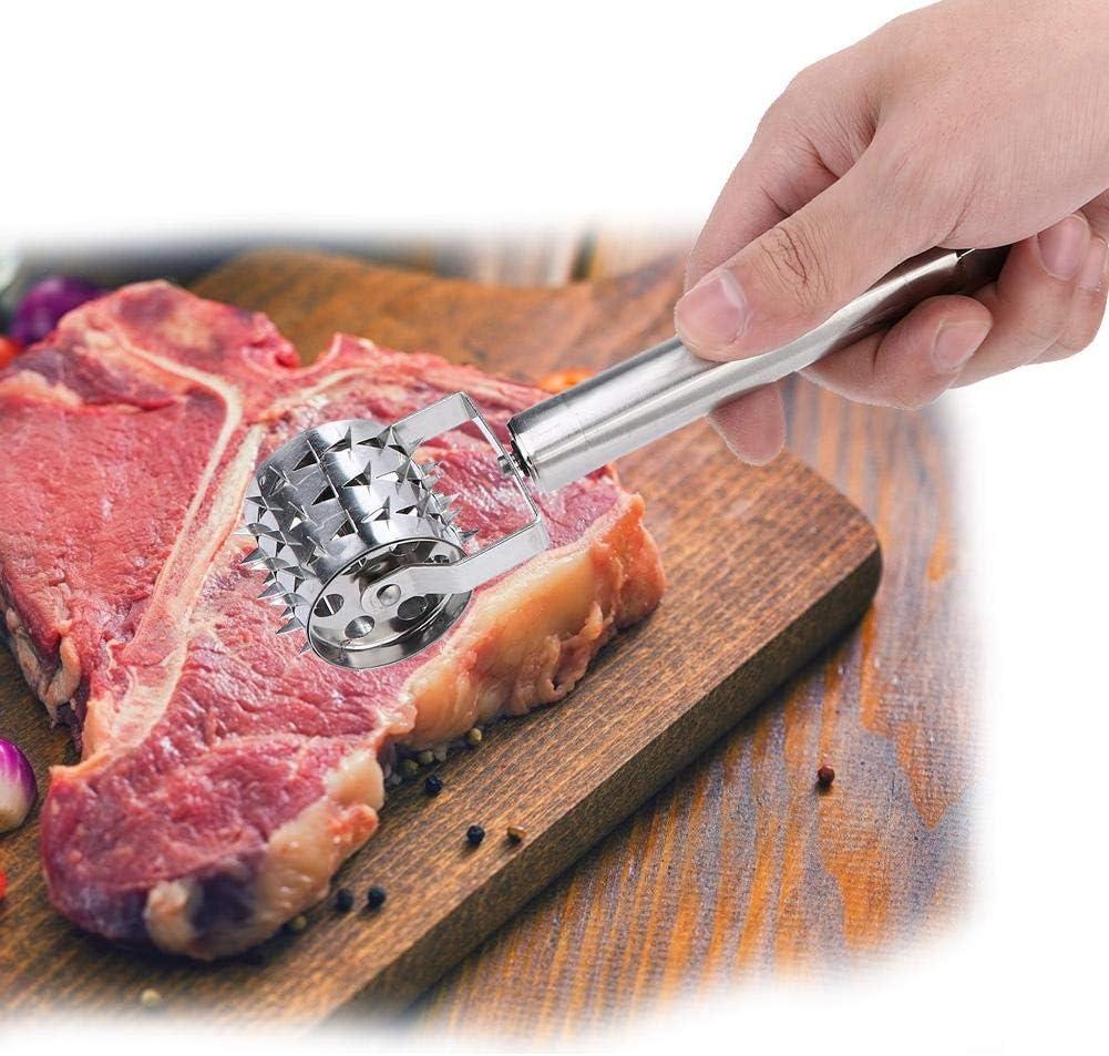 Ablandador de carne Barbacoa Martillo Ablandador Carne MAGT Rodillo de acero inoxidable Martillo rodante Ablandador de carne para filete Pollo Cerdo Carne de res