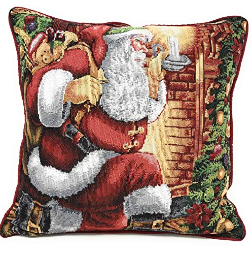Tache Christmas Festive Winter Holiday Santa Down the Chimney Decorative Woven Tapestry Cushion Throw Pillow Cover, 1 Piece 16 x 16