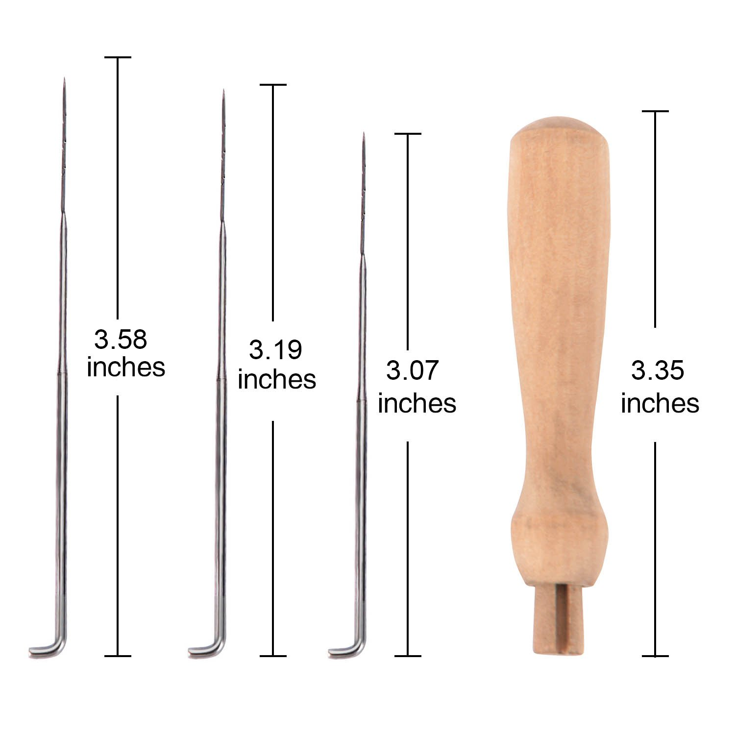 eBoot 60 Pieces 3 Sizes Felting Needles Wool Felt Tools with 3 Pieces Clear Bottles and 3 Pieces Wooden Handles