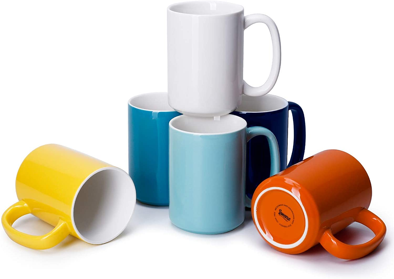 Sweese 608.002 Porcelain Mugs Set, 15 Ounce Large Handle Mugs, Set of 6, Hot Assorted colors