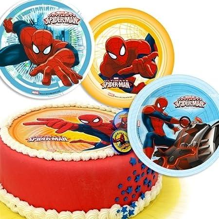 Ultimate Spiderman Sugar Disc Cake Topper Amazoncouk Kitchen Home