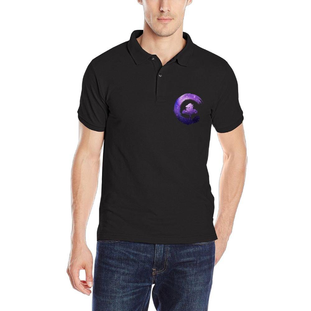 Galaxy Bonsai Tree Enso Circle Mens Short Sleeve Polo Shirt Classic-Fit Blouse Sport Tee