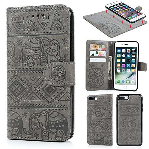 iPhone 8 Plus Case, iPhone 7 Plus Case Premium PU Leather Wallet Case Oil Wax Elephant Pattern with Detachable Magnetic Card Holder ID Slot for iPhone 7 Plus & iPhone 8 Plus Gray