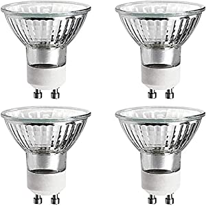 20 Watts Halogen Light Bulb MR16 GU10 Base 20w 120v Reflector Exn Flood Lights for Track Lighting Bulbs and Recessed Cans Spotlights with UV Filter Cover 20MR16/GU10/FL Pack Of 4