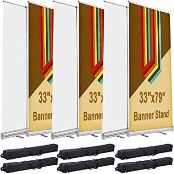 Instahibit 33x79 Aluminum Retractable Roll up Banner Stand Conference Display Trade Show Promotion Sign Yescom