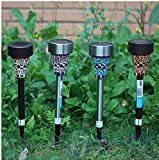 the New Solar Lamps Power Mosaic LED Garden Light Stainless Steel Pieces of Solar Energy Outdoor Lamp for Lawn Luminaria LED Solar Garden Lamp Light, Solar Energy LED Lawn Lights 4pcs/lot