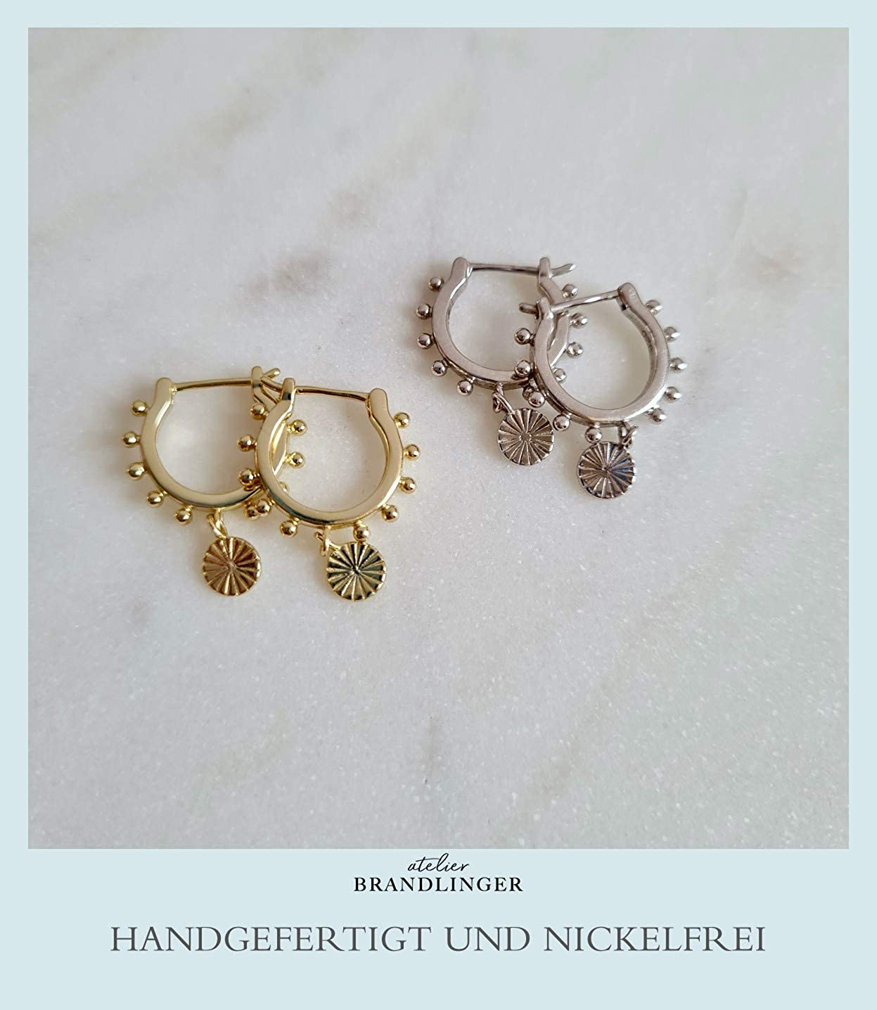 Tama/ño 15,4mm Brandlinger /® Atelier pendientes de aro de plata de ley dorada colgante moneda antigua para mujeres y ni/ñas